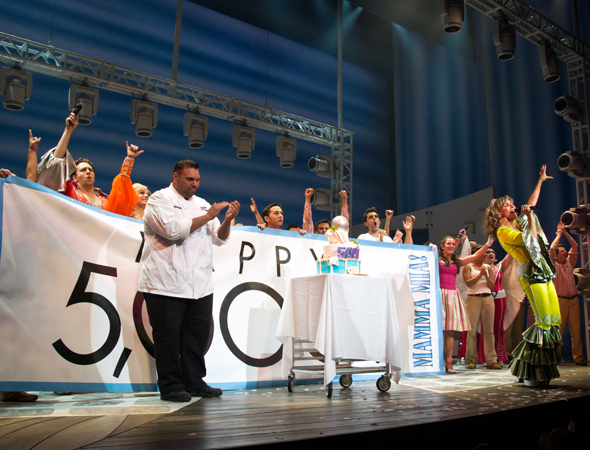 Judy McLane and the cast of Mamma Mia! celebrate 5,000 performances onstage at the Broadhurst Theatre.