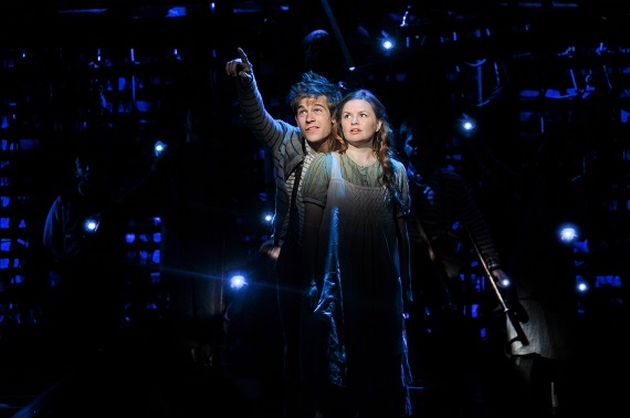 Jason Ralph and Nicole Lowrance in Peter and the Starcatcher.