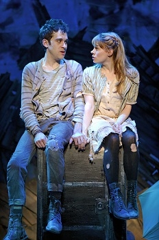 Adam Chanler-Berat and Celia Keenan-Bolger in Peter and the Starcatcher on Broadway at the Brooks-Atkinson Theatre.