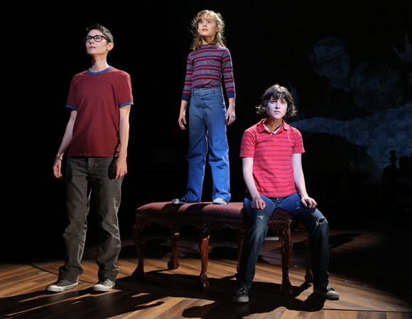Beth Malone, Sydney Lucas, and Alexandra Socha in a scene from Fun Home.