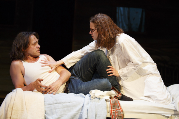 Rob Campbell and Laura Heisler in The Patron Saint of Sea Monsters at Playwrights Horizons.