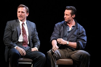Daniel Craig as Joey and Hugh Jackman as Denny in Keith Huff's A Steady Rain, directed by John Crowley, at the Gerald Schoenfeld Theatre on Broadway in 2009.
