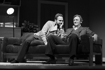 Rafe Spall as Jerry and Daniel Craig as Robert in Harold Pinter's Betrayal, directed by Mike Nichols, at the Barrymore Theatre on Broadway, 2013