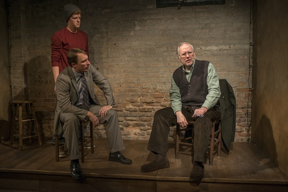 Rob Fenton, John Hoogenakker, and Patrick Clear in Conor McPherson's Port Authority at Writers Theatre in Chicago.