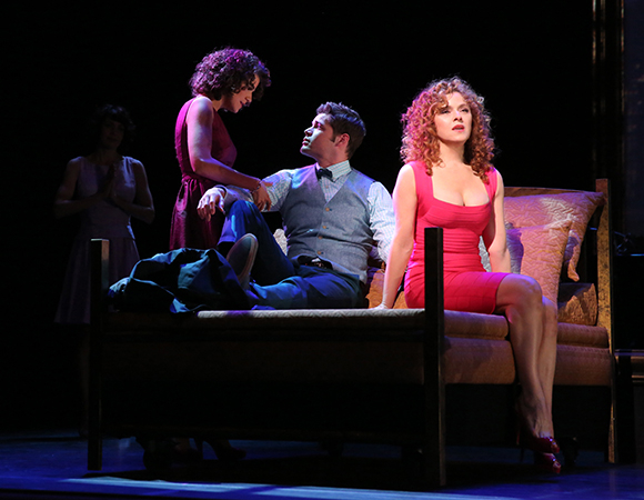 "Cyrille Aimée, Jeremy Jordan, and Bernadette Peters in a scene from ''A Bed and a Chair: A New York Love Affair"" at New York City Center."