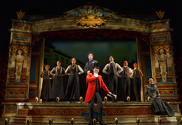 Jefferson Mays (center) and the cast of A Gentleman's Guide to Love and Murder at the Walter Kerr Theatre.