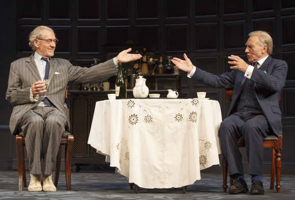 Ian McKellen and Patrick Stewart in Harold Pinter's No Man's Land at the Cort Theatre.