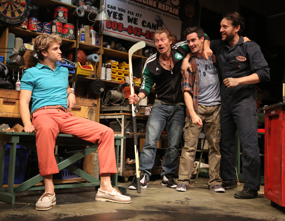 Keegan Allen, James Badge Dale, James Ransone, and John Pollono in a scene from Small Engine Repair.