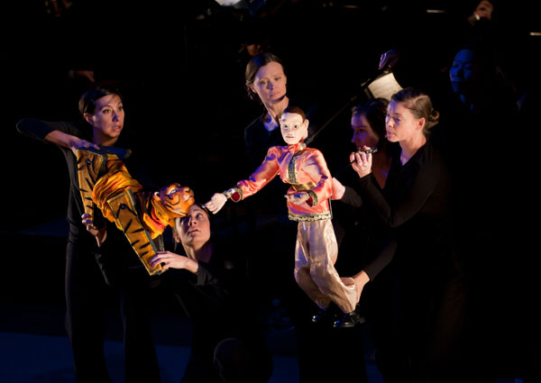 Bunraku puppetry in The Little Orchestra Society's production of Stravinsky's Firebird.
