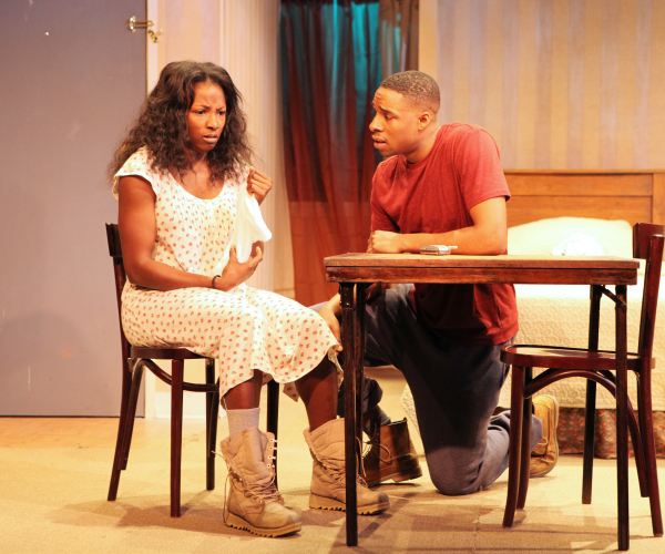 Rutina Wesley and Grantham Coleman in One Night... at Cherry Lane Theatre.
