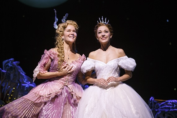 Rebecca Luker as the Fairy Godmother and Laura Osnes in the title role of Broadway's Cinderella.
