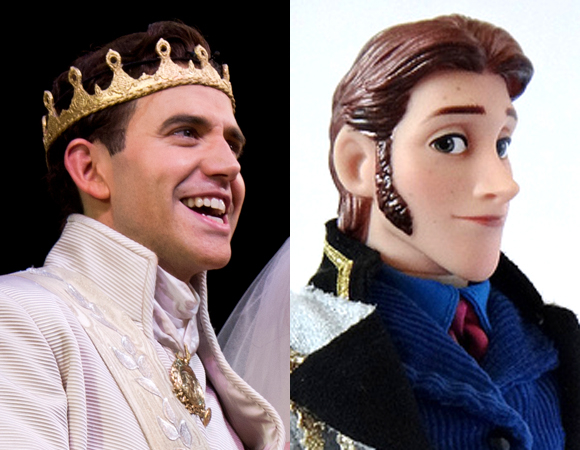 Santino Fontana in Cinderella alongside his 'Hans' action figure from Frozen.