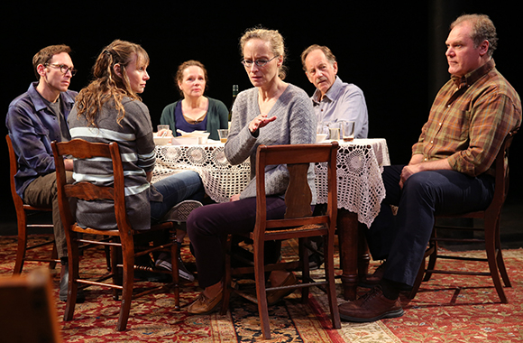 Stephen Kunken, Sally Murphy, Maryann Plunkett, Laila Robins, Jon DeVries, and Jay O. Sanders in Richard Nelson's Regular Singing at the Public Theater.