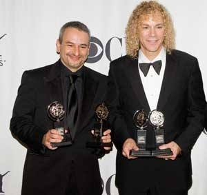 Joe DiPietro and David Bryan with their Tony Awards for Memphis.