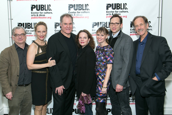 Playwright/director Richard Nelson and the cast of Regular Singing: Laila Robins, Jay O. Sanders, Maryann Plunkett, Sally Murphy, Jon DeVries, and Stephen Kunken.