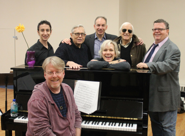 The company of Love, Linda: The Life of Mrs. Cole Porter:  Christopher McGovern (seated, music director); standing: Danny Weller (bass), Richard Maltby Jr. (director),  Andrew Levine (York Executive Director), Stevie Holland, Gary William Friedman (book/arrangements), and James Morgan (York Producing Artistic Director).