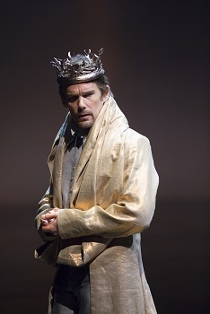Ethan Hawke as the title character in Broadway's Macbeth at Lincoln Center's Vivian Beaumont Theater.