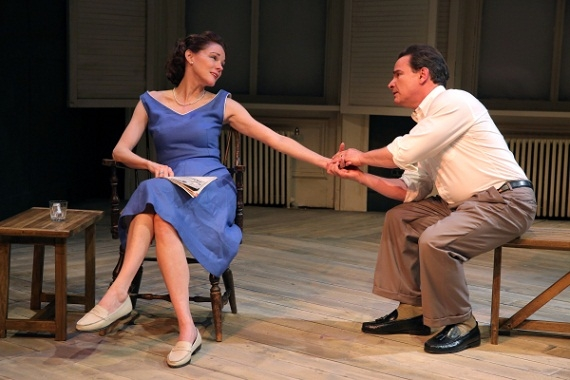 Carolyn McCormick and Peter Scolari in A.R. Gurney's Family Furniture at The Flea Theater.