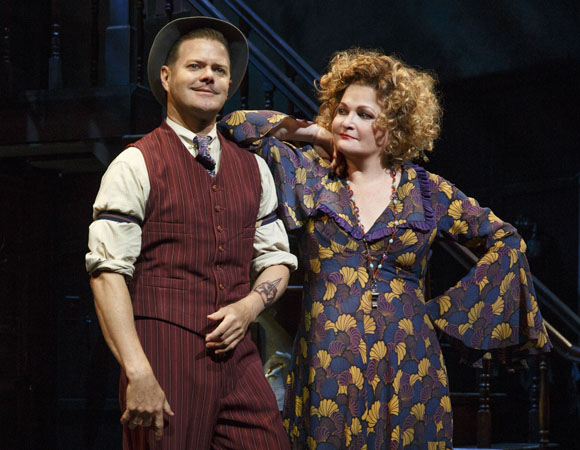 Clarke Thorell and Faith Prince as evil siblings Rooster and Miss Hannigan in Annie at the Palace Theatre.