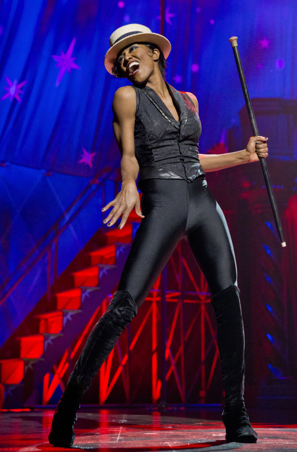 Patina Miller in Pippin at the Music Box Theatre.