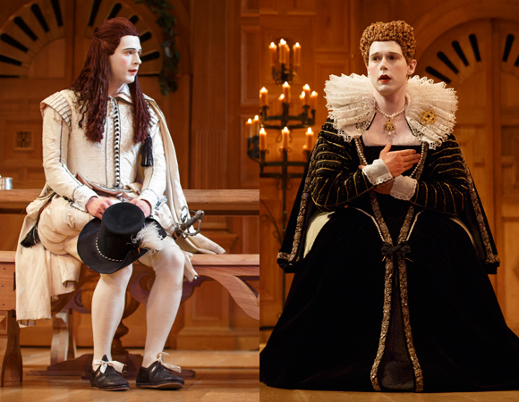 Samuel Barnett as Viola in Twelfth Night (left) and Queen Elizabeth in Richard III (right).