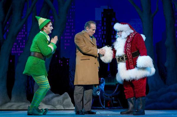 Sebastian Arcelus, Mark Jacoby, and George Wendt in the original Broadway cast of Elf.