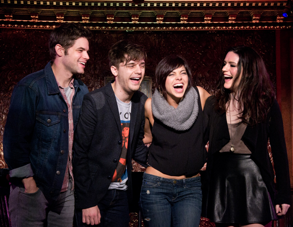 Hit List stars Jeremy Jordan, Andy Mientus, Krysta Rodriguez, and Carrie Manolakos share a laugh.
