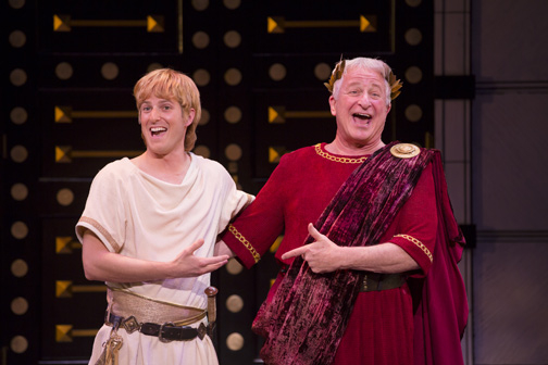 Nick Verina as Hero and Steve Vinovich as Senex in Shakespeare Theatre A Funny Thing Happened on the Way to the Forum.