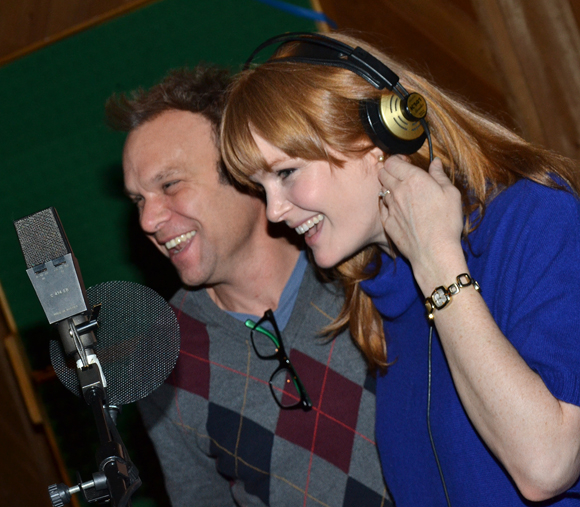A candid moment in the studio with Norbert Leo Butz and Kate Baldwin.