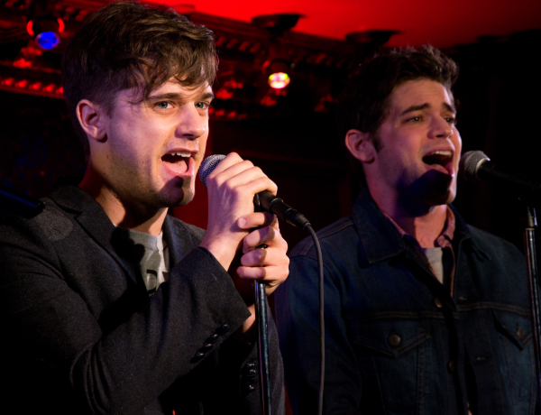 Andy Mientus and Jeremy Jordan in a scene from Hit List at 54 Below.