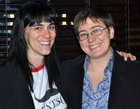Director Leigh Silverman joins playwright Madeleine George for a photo.