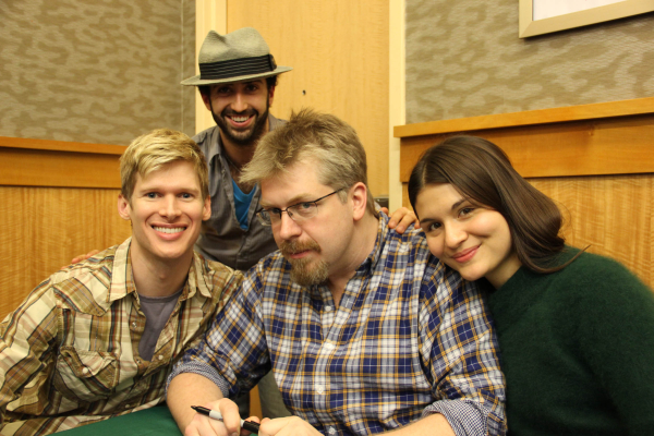 Show creator Dave Malloy (center) poses with his stars Lucas Steele (left), Phillipa Soo (right), and musical director Or Matias (rear).