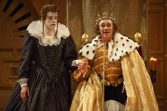 Joseph Timms as Anne and Mark Rylance as King Richard III in the Shakespeare's Globe production of Richard III, directed by Tim Carroll, at Broadway's Belasco Theatre.