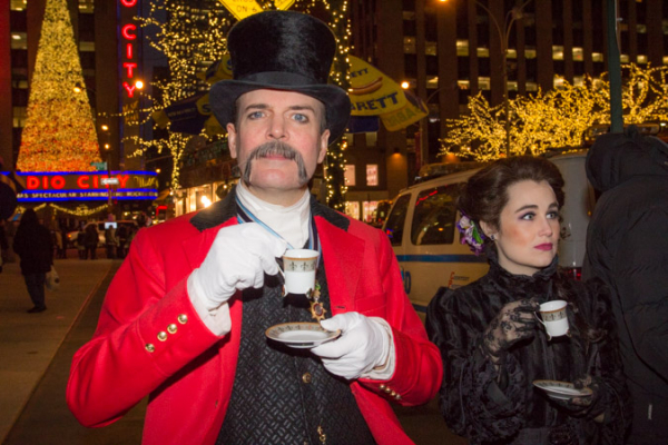 Jefferson Mays shows off his dainty tea cup (which he may or may not have brought with him).