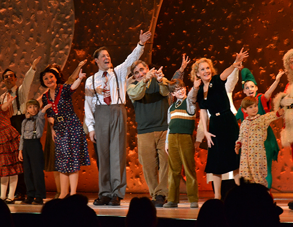 Dan Lauria and the cast of A Christmas Story, The Musical acknowledge the orchestra at the opening night curtain call.