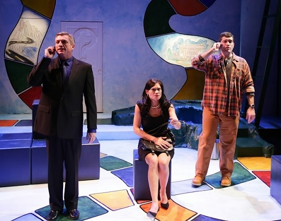 "Will McGarrahan, Celeste Oliva, Mike Dorval in ""Becky's New Car'' at Boston's Lyric Theatre."
