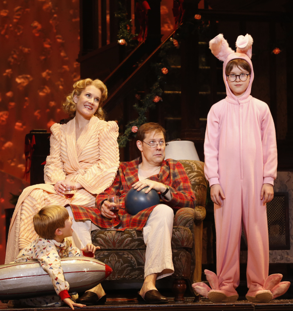 Noah Baird, Erin Dilly, John Bolton and Jake Lucas in A Christmas Story at The Theater at Madison Square Garden.