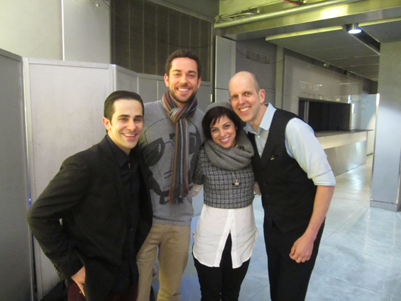 Brett Ryback, Zachary Levi, Krysta Rodriguez, and Jeff Blumenkrantz following the Kellen and Joe Christmastime Show.