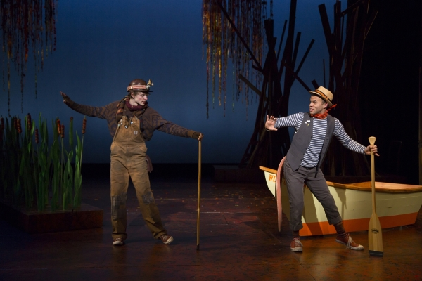 Mike Faist (left) as Mole and Justin Keyes (right) as the Water Rat in A Wind in the Willows Christmas.