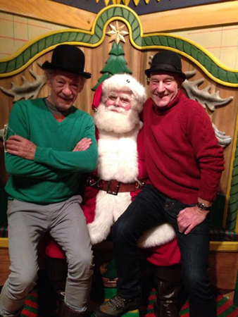 Ian McKellen and Patrick Stewart with Santa at Macy's. This is the best holiday photo that we may ever see.