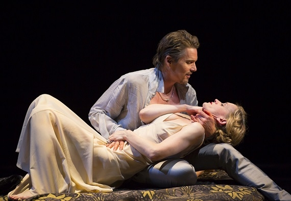 Ethan Hawke as Macbeth and Anne-Marie Duff as Lady Macbeth in Lincoln Center Theater's production of Macbeth, directed by Jack O'Brien the Vivian Beaumont Theater.