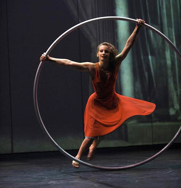 Angelica Bongiovonni rides the Cyr wheel in Cirk Eloize: Cirkopolis.