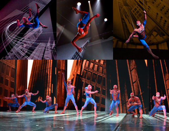 The spider-men of Broadway's Spider-Man Turn off the Dark.