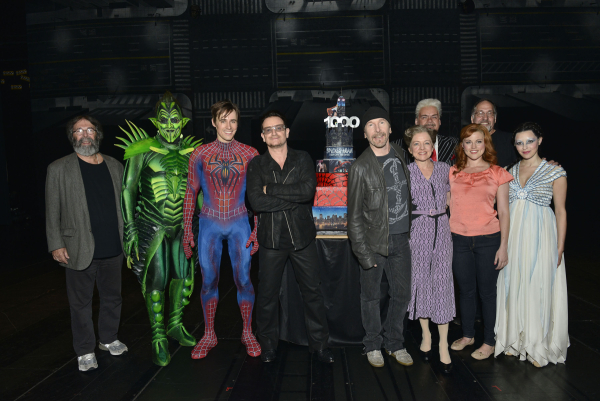 Michael Cohl, Robert Cuccioli, Reeve Carney, Bono, The Edge, Isabel Keating, Michael Mulheren, Rebecca Faulkenberry, and Christina DeCirco at the 1,000th-performance celebration of Spider-Man Turn Off The Dark.