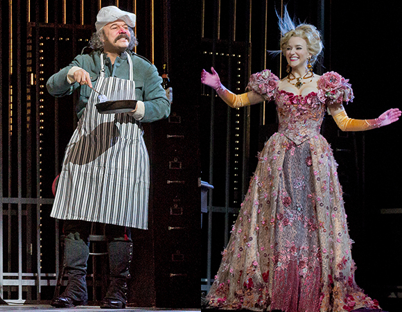 Danny Burstein as Frosch and Betsy Wolfe as Ida in scenes from Die Fledermaus at the Metropolitan Opera.