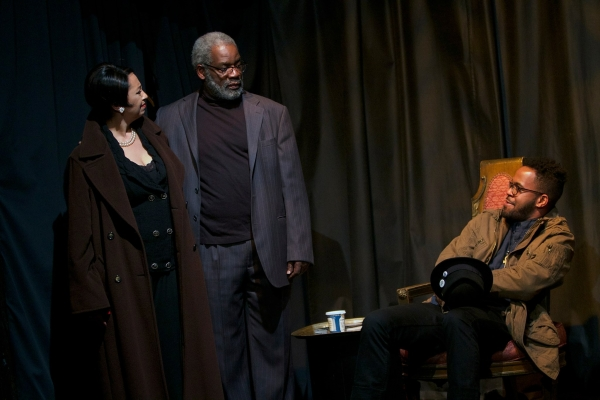 Temesgen Tocruray (seated) with Dawn Murphy and Rome Neal in Ishmael Reed's The Final Version.