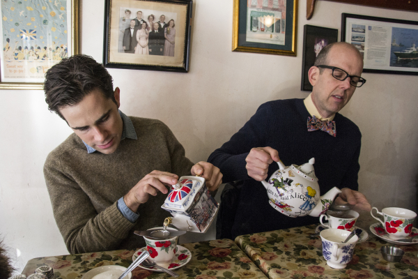 Murder for Two's Brett Ryback and Jeff Blumenkrantz pour cups of tea at Tea and Sympathy.