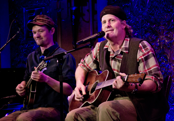 Brad Phillips and Jeff Daniels on stage at 54 Below.