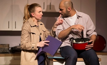 Emily Kester and Maboud Ebrahimzadeh in Edgar and Annabel at The Studio Theatre in Washington, DC.