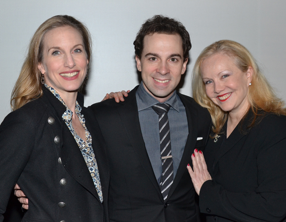 "Presenters Wendy Whelan (New York City Ballet) and Tony Award-winning director/choreographer Susan Stroman (""Bullets Over Broadway"") flank past winner Rob McClure (""Chaplin"")."